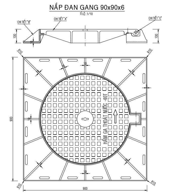 Bản vẽ chi tiết nắp đan gang hầm ga thoát nước