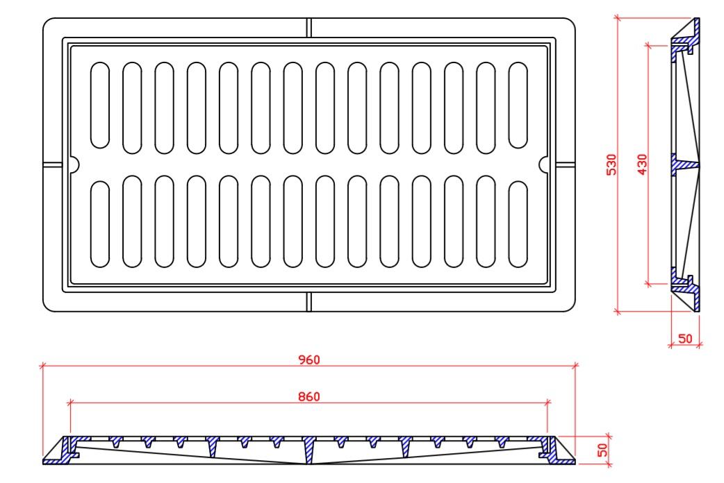 Bộ lưới thu nước kích thước 960x530x50 tải trọng125Kn
