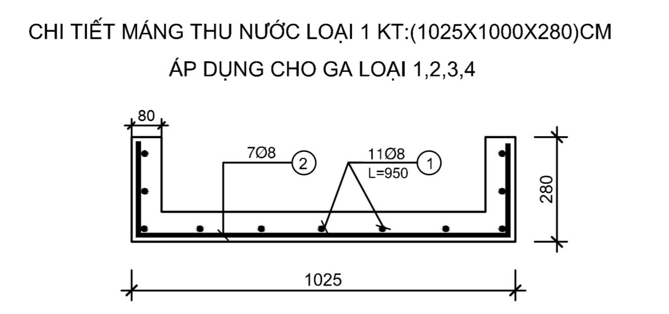 Chi tiết máng thu nước loại 1 áp dụng cho ga loại 1,2,3,4
