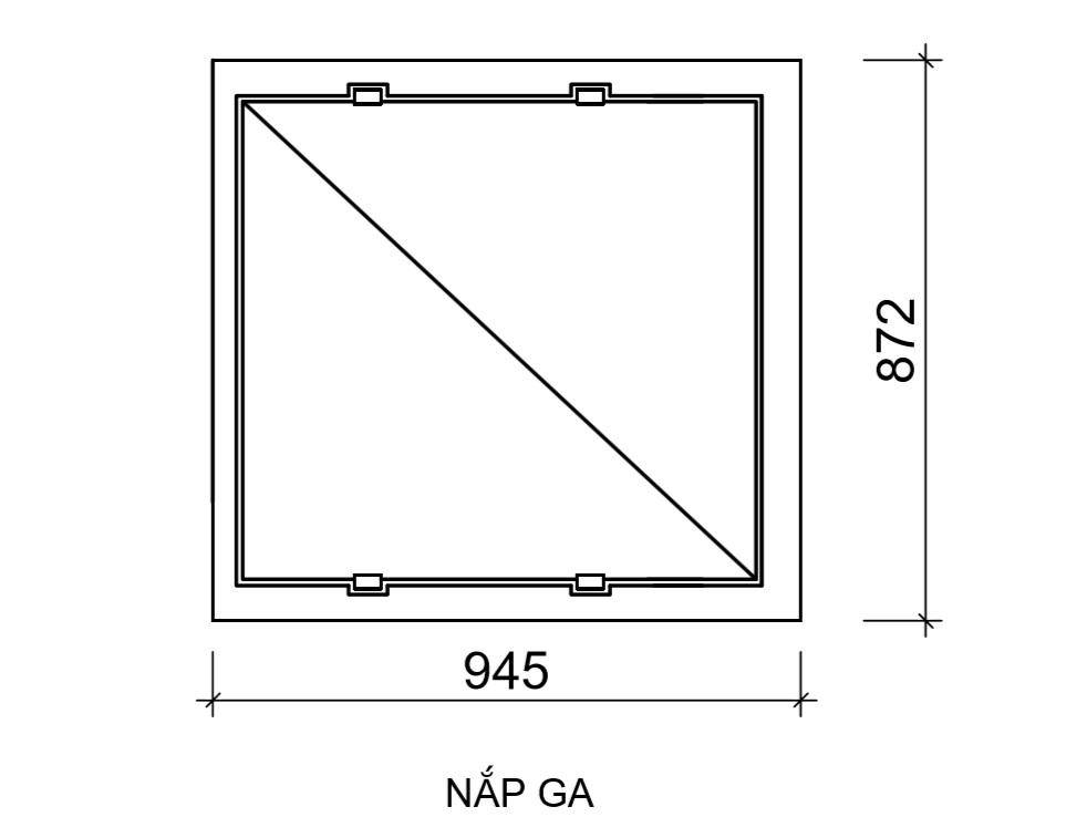 Kích thước chi tiết nắp ga vuông có bản lề