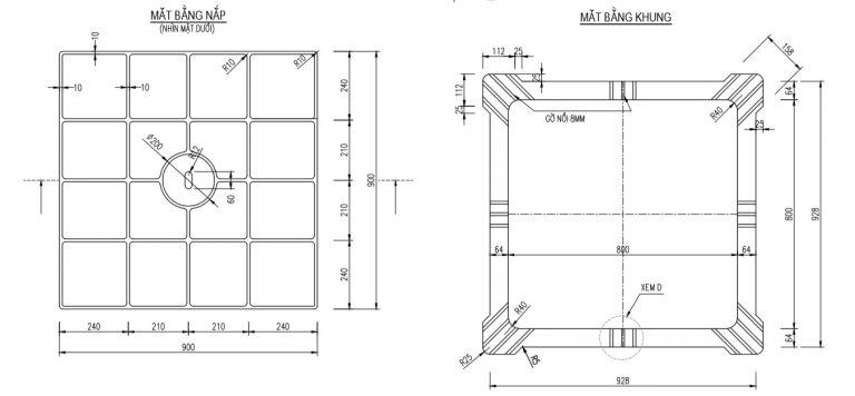 Mặt bằng nắp và khung nắp hố ga vuông