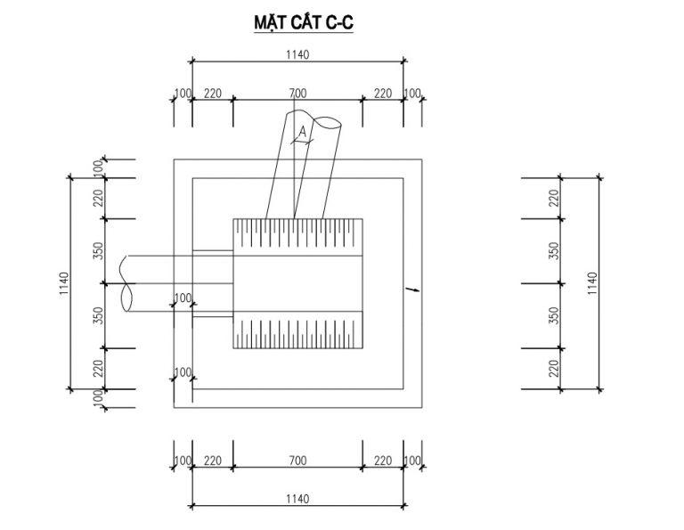 Mặt cắt C-C nắp ga composite thoát nước thải