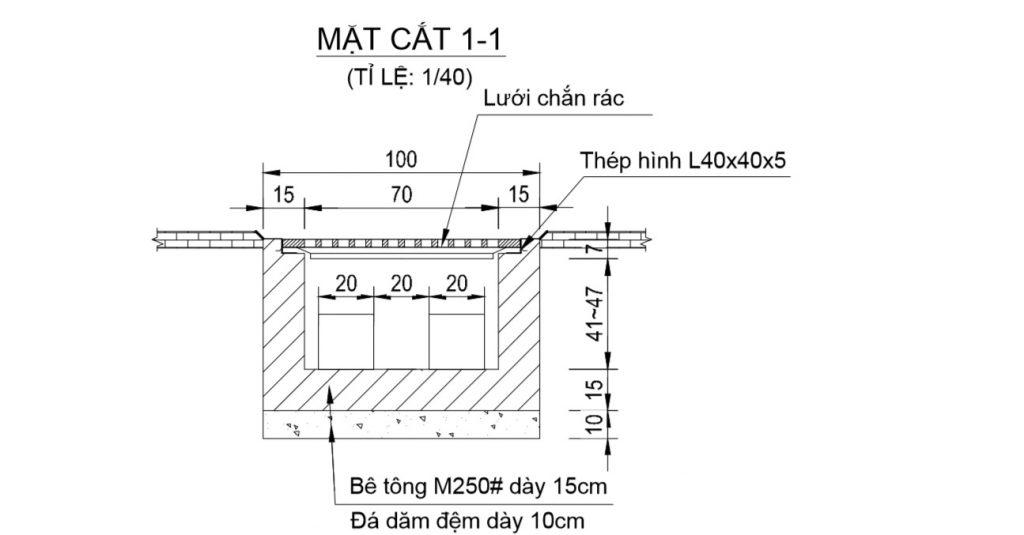 Mặt cắt tỷ lệ 1-1 mương gang, cửa thu nước