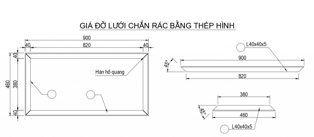 Bản vẽ chi tiết giá đỡ lưới chắn rác bằng thép hình