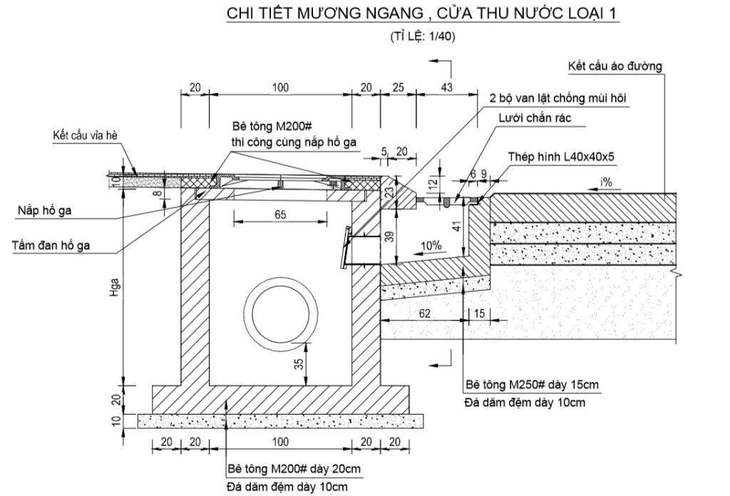 Bản vẽ chi tiết mương gang, cửa thu nước thông dụng chống mùi hôi