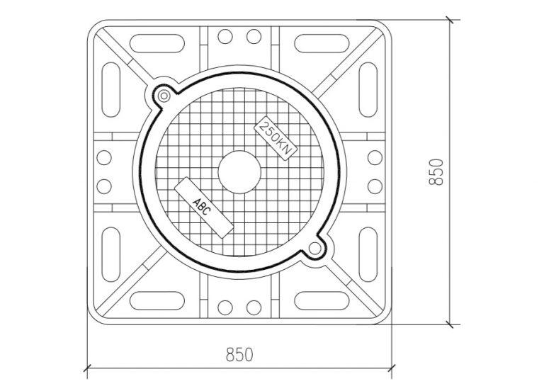 Bản vẽ chi tiết nắp hố ga kích thước 850x850 tải trọng 250Kn